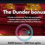 dunder bonus free spins
